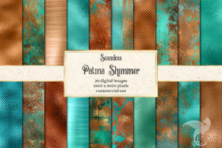 Print on Demand: Patina Shimmer Digital Paper Graphic Textures By Digital Curio 1