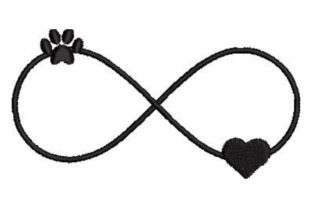 Paw Print and Heart Infinity Sign Dogs Embroidery Design By Embroidery Designs