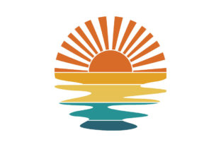 Print on Demand: Retro Sunset Rays Wavy Water PNG SVG Graphic Logos By SunandMoon
