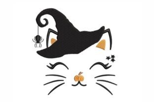 Witch Cat Halloween Embroidery Design By NinoEmbroidery