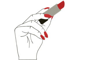 Print on Demand: Woman Hand Holding Lipstick Boho Embroidery Design By Embroidery Shelter 1