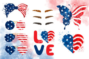 4th of July Messy Bun Hair Sublimation Graphic Illustrations By Hippogifts 3