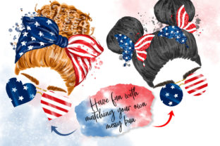4th of July Messy Bun Hair Sublimation Graphic Illustrations By Hippogifts 4