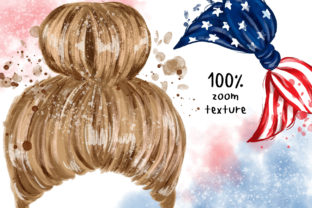 4th of July Messy Bun Hair Sublimation Graphic Illustrations By Hippogifts 5