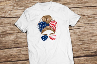4th of July Messy Bun Hair Sublimation Graphic Illustrations By Hippogifts 6