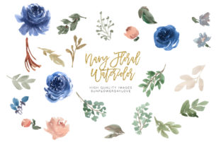 Print on Demand: Blue Watercolor Flower Elements Clipart Graphic Illustrations By SunflowerLove