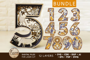 Print on Demand: Bundle NUMBERS Multilayer Laser Cut File Graphic 3D SVG By LaserCutano