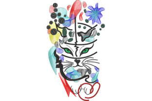 Print on Demand: Cat Tattoo Explosion Cats Embroidery Design By Dizzy Embroidery Designs