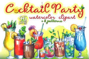 Cocktails Watercolor Clipart Graphic Illustrations By rembrantd.ulya 1