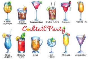 Cocktails Watercolor Clipart Graphic Illustrations By rembrantd.ulya 3