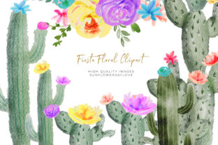 Print on Demand: Colorful Cactus Watercolor Clipart Graphic Illustrations By SunflowerLove