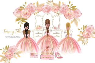 Print on Demand: Dressing Table Pink Ballerina Princess Graphic Illustrations By SunflowerLove