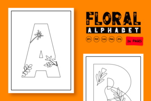 Print on Demand: Floral Aplhabet Coloring Templates Graphic Coloring Pages & Books Kids By KDP warehouse 3
