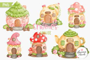 Print on Demand: Gnomes House Clipart Bundle, Fairy Garde Graphic Illustrations By Chonnieartwork