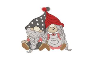 Print on Demand: Gnomes in Love Valentine's Day Embroidery Design By ArtEMByNatali