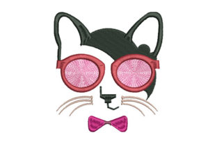 Print on Demand: Half Cat's Head Cats Embroidery Design By Dizzy Embroidery Designs