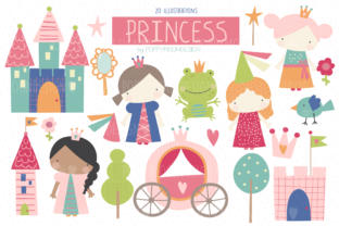 Print on Demand: Princess Clipart Set Graphic Illustrations By poppymoondesign