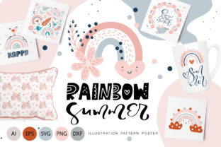 Rainbow Summer Graphic Objects By Happy Letters