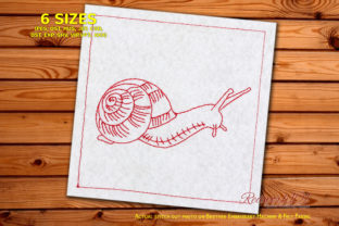 Snail Walking on Grass Bugs & Insects Embroidery Design By Redwork101 1