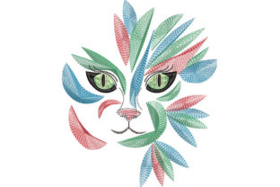 Print on Demand: Tribal Cat Portrait Cats Embroidery Design By Dizzy Embroidery Designs
