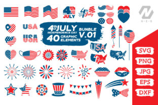 Print on Demand: 4th of July Elements Graphic Bundle Graphic Crafts By nesdigiart