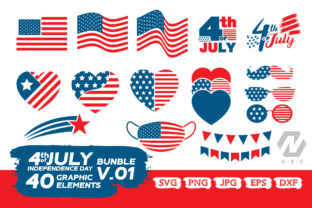 Print on Demand: 4th of July Elements Graphic Bundle Graphic Crafts By nesdigiart 2