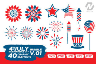 Print on Demand: 4th of July Elements Graphic Bundle Graphic Crafts By nesdigiart 4