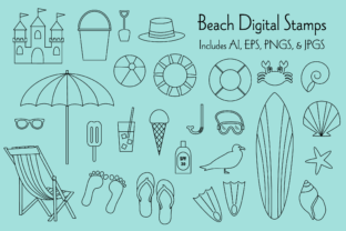 Beach Digital Stamps Graphic Illustrations By Melissa Held Designs