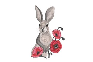 Print on Demand: Bunny and Poppies Animals Embroidery Design By ArtEMByNatali