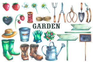 Gardening Watercolor Clipart Graphic Illustrations By rembrantd.ulya 2