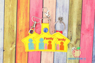Happy Family Keyfob Keychain ITH Relatives Embroidery Design By embroiderydesigns101