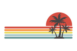 Print on Demand: Palm Trees Stripes Retro Sunset PNG SVG Graphic Logos By SunandMoon