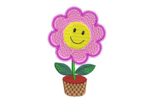 Print on Demand: Smiling Flower in a Pot Wedding Flowers Embroidery Design By Dizzy Embroidery Designs