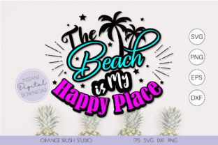 Print on Demand: The Beach is My Happy Place SVG Cut File Graphic Crafts By Orange Brush Studio