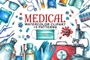 Watercolor Medical Clipart Graphic Illustrations By rembrantd.ulya 1