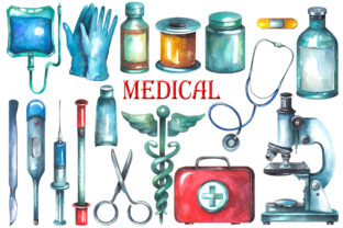 Watercolor Medical Clipart Graphic Illustrations By rembrantd.ulya 2