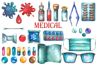 Watercolor Medical Clipart Graphic Illustrations By rembrantd.ulya 3
