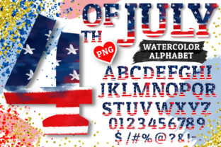 4th of July Alphabet Sublimation PNG Graphic Illustrations By Hippogifts 1