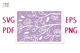 Branches and Blossom Card SVG Cut File Graphic 3D SVG By Nic Squirrell