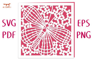 Butterfly and Blossom Card SVG Cut File Graphic 3D SVG By Nic Squirrell