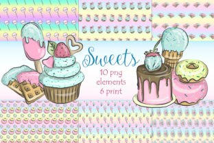 Print on Demand: Desserts Digital Paper and Clipart Graphic Illustrations By LerVik