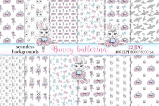Print on Demand: Digital Peper Bunny Ballerina and Bows Graphic Patterns By LerVik