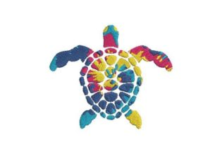 Hawaiian Tie Dye Sea Turtle Reptiles Embroidery Design By Embroidery Designs