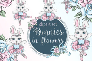 Print on Demand: Little Bunny Rabbit Ballerina and Flowers Graphic Illustrations By LerVik
