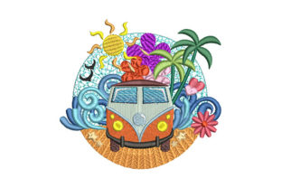 Print on Demand: Summer Breeze Camper Van Travel & Season Embroidery Design By Dizzy Embroidery Designs 1