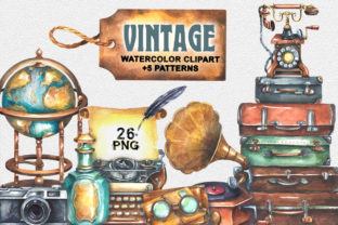 Vintage Watercolor Clipart Graphic Illustrations By rembrantd.ulya 1