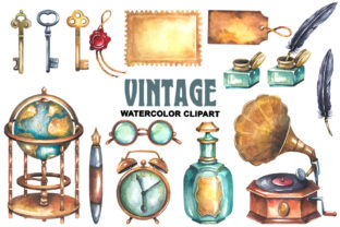 Vintage Watercolor Clipart Graphic Illustrations By rembrantd.ulya 2