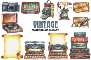 Vintage Watercolor Clipart Graphic Illustrations By rembrantd.ulya 3