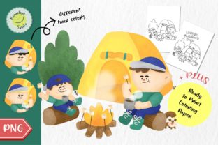 👨👦 Father & Son Go Camping🏕️ Graphic Coloring Pages & Books Kids By Bonalisa Smile 1