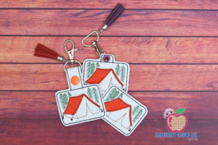 Camping Tent ITH Key Fob Pattern Camping & Fishing Embroidery Design By embroiderydesigns101